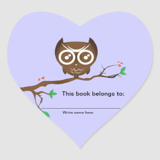 This book belongs to - Owl Bookplates Heart Sticker