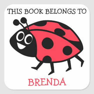 This Book Belongs To Personalized Ladybug Square Sticker