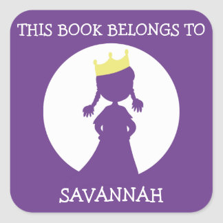 This Book Belongs To Personalized Purple Princess Square Sticker