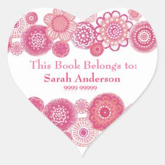 This Book Belongs To Pink Heart Shape Sticker