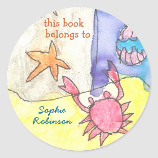 """This book belongs to"" seascape bookplate Classic Round Sticker"