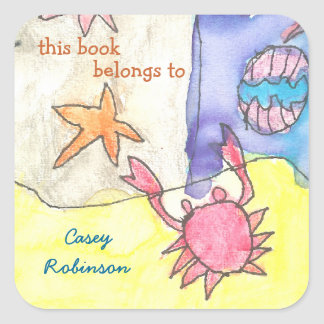 """This book belongs to"" seascape bookplate Square Sticker"