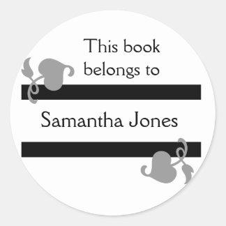 This Book Belongs To Stickers::Black Round Sticker