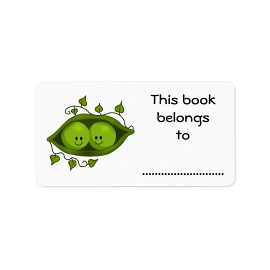 This Book Belongs To, Two Peas In A Pod Label