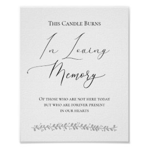 This Candle Burns In Loving Memory Wedding Sign