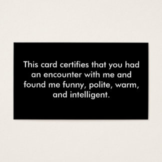 This card certifies that you had an encounter w...