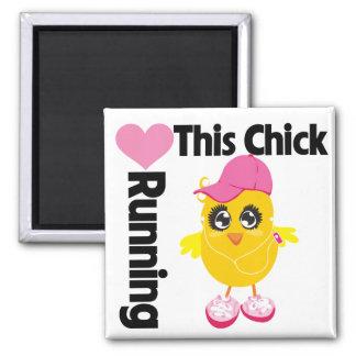 This Chick Loves Running Refrigerator Magnet
