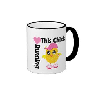 This Chick Loves Running Ringer Coffee Mug