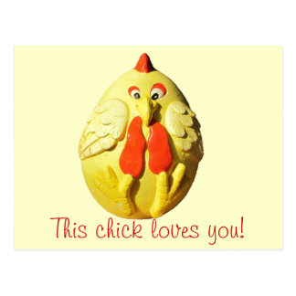 This Chick Loves You template phrase Postcard