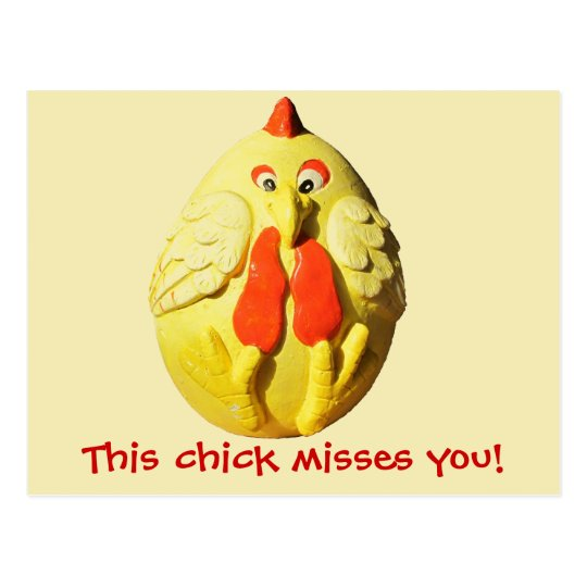 This Chick Misses You Chicken Meme Postcard