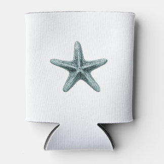 This classic antique typographic sea starfish desi can cooler