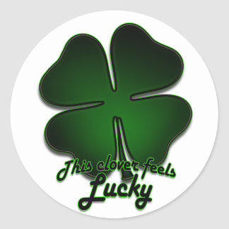 This clover feels lucky classic round sticker
