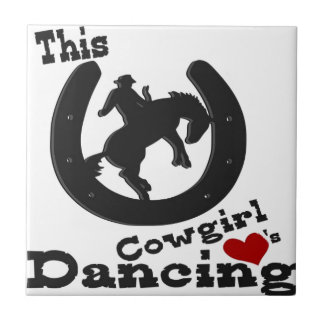 This cowgirl loves dancing. small square tile
