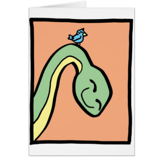 This Dinosaur has a Bird on its neck Greeting Card