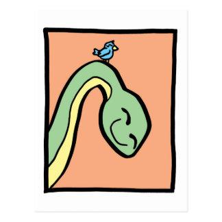 This Dinosaur has a Bird on its neck Postcard