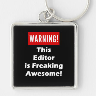 This Editor is Freaking Awesome! Silver-Colored Square Key Ring