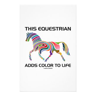 This Equestrian Adds Color To Life (Color Swirl) Stationery
