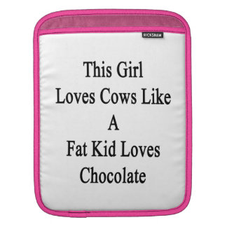 This Girl Loves Cows Like A Fat Kid Loves Chocolat iPad Sleeves