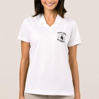 """""""This girl Loves her pitbull"""" black Polo Shirt"""