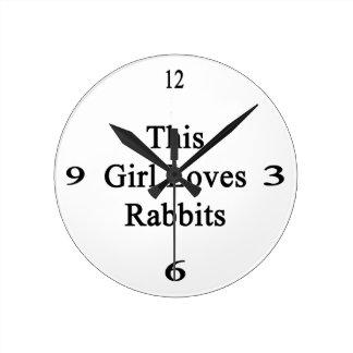 This Girl Loves Rabbits Round Wall Clocks