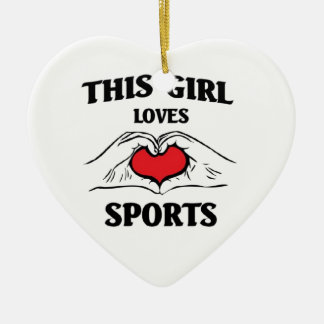 This girl loves sports ceramic heart decoration