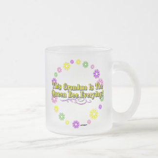 This Grandma Is The Queen Bee Everyday Flower Ring Frosted Glass Mug