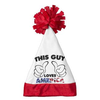This guy loves america santa hat