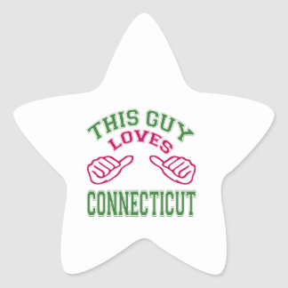This Guys Loves Connecticut Star Sticker