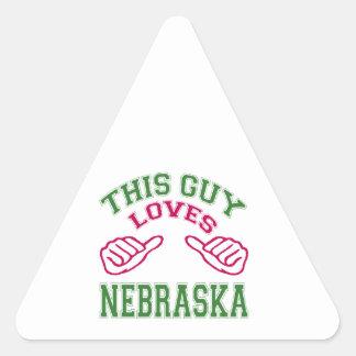 This Guys Loves Nebraska. Triangle Stickers