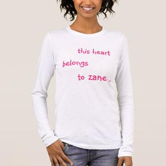 this heart belongs to zane . long sleeve T-Shirt