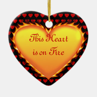 This Heart is on Fire..Will You Marry Me? Ceramic Heart Decoration