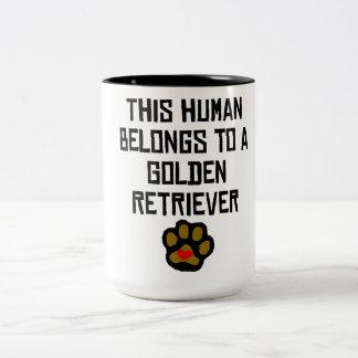 This Human Belongs To A Golden Retriever Two-Tone Coffee Mug