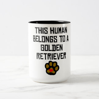 This Human Belongs To A Golden Retriever Two-Tone Coffee Mug