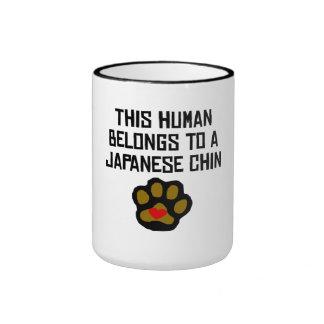 This Human Belongs To A Japanese Chin Mugs