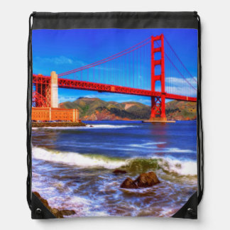 This is a 3 shot HDR image of the Golden Gate Drawstring Bag