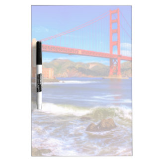 This is a 3 shot HDR image of the Golden Gate Dry Erase Board