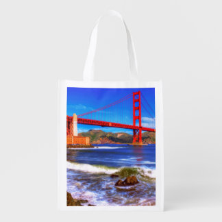 This is a 3 shot HDR image of the Golden Gate Reusable Grocery Bag