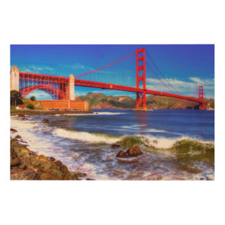 This is a 3 shot HDR image of the Golden Gate Wood Wall Art