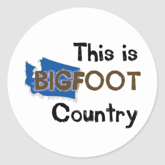 This is bigfoot country classic round sticker
