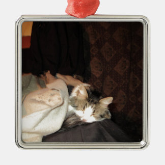 This is how real cats sleep! square metal christmas ornament