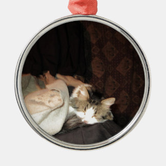 This is how real cats sleep! round metal christmas ornament