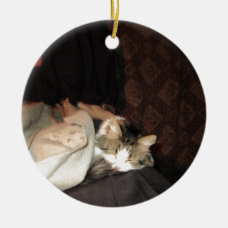 This is how real cats sleep! Double-Sided ceramic round christmas ornament