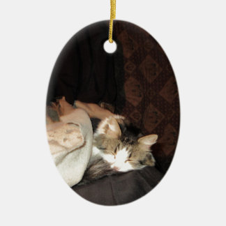 This is how real cats sleep! Double-Sided oval ceramic christmas ornament