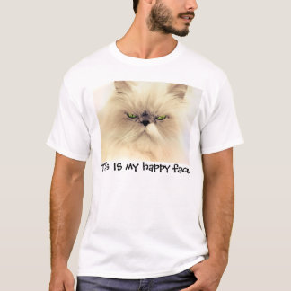 This IS my happy face, Funny Cat T-shirts
