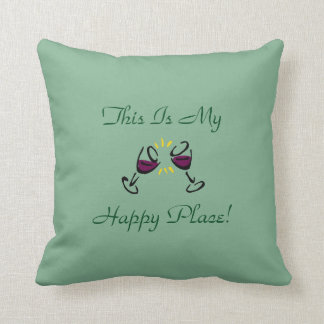 This Is My Happy Place! Green Throw Pillow