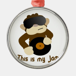 This is my jam, Monkey Silver-Colored Round Decoration