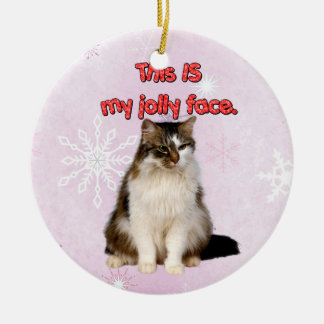 This IS My Jolly Face Cat Artwork Round Ceramic Decoration