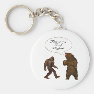This is-my Turf Bigfoot and Grizzly Painting Gifts Basic Round Button Key Ring