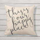 This is our happy place|Cotton Fabric Textured Cushion