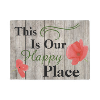 This Is Our Happy Place Poppy Flower Door Mat